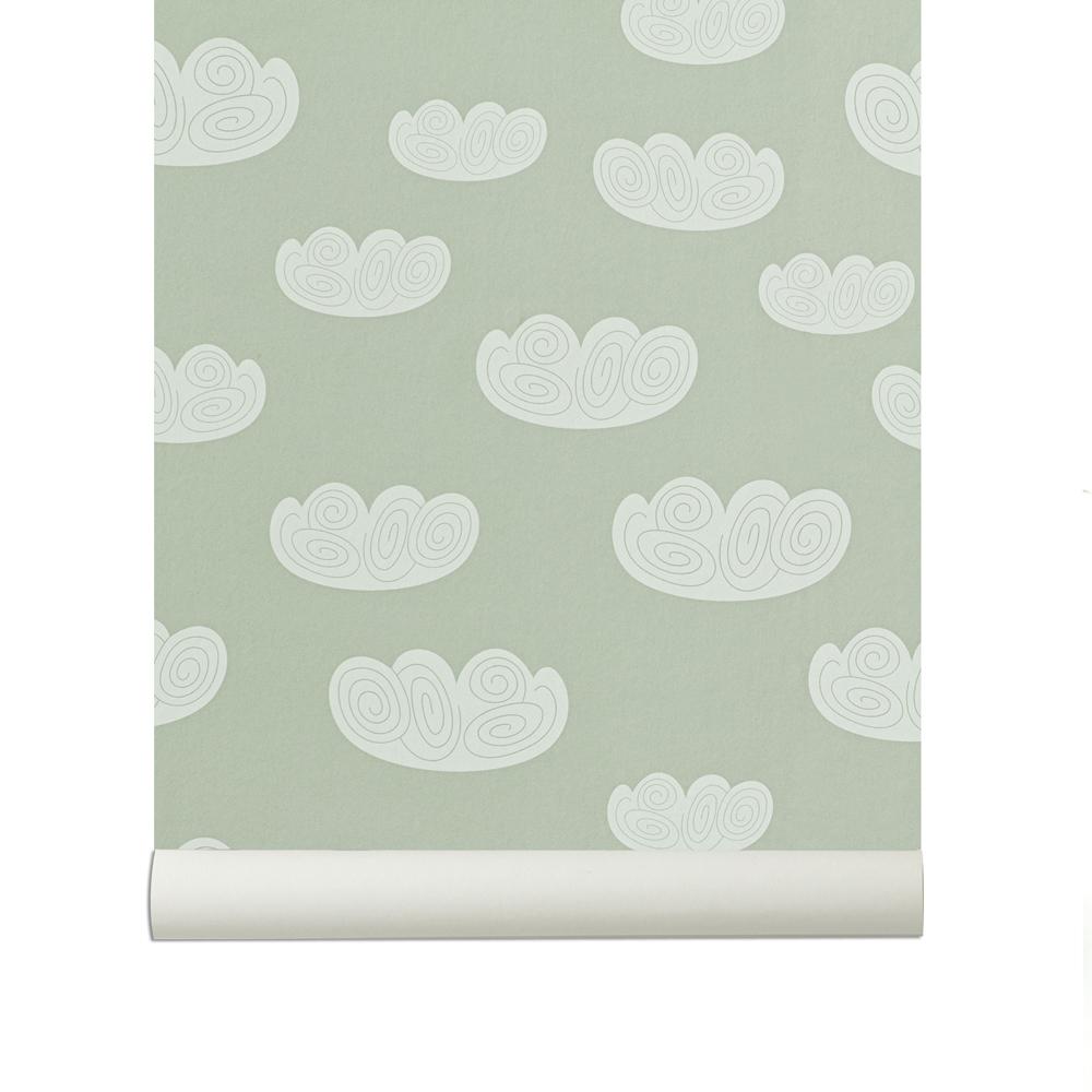 Papier peint nuage mint ferm living pour chambre enfant for Papier peint nuage