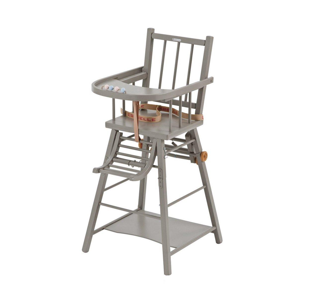 Chaise haute transformable Marcel - Laqué gris clair