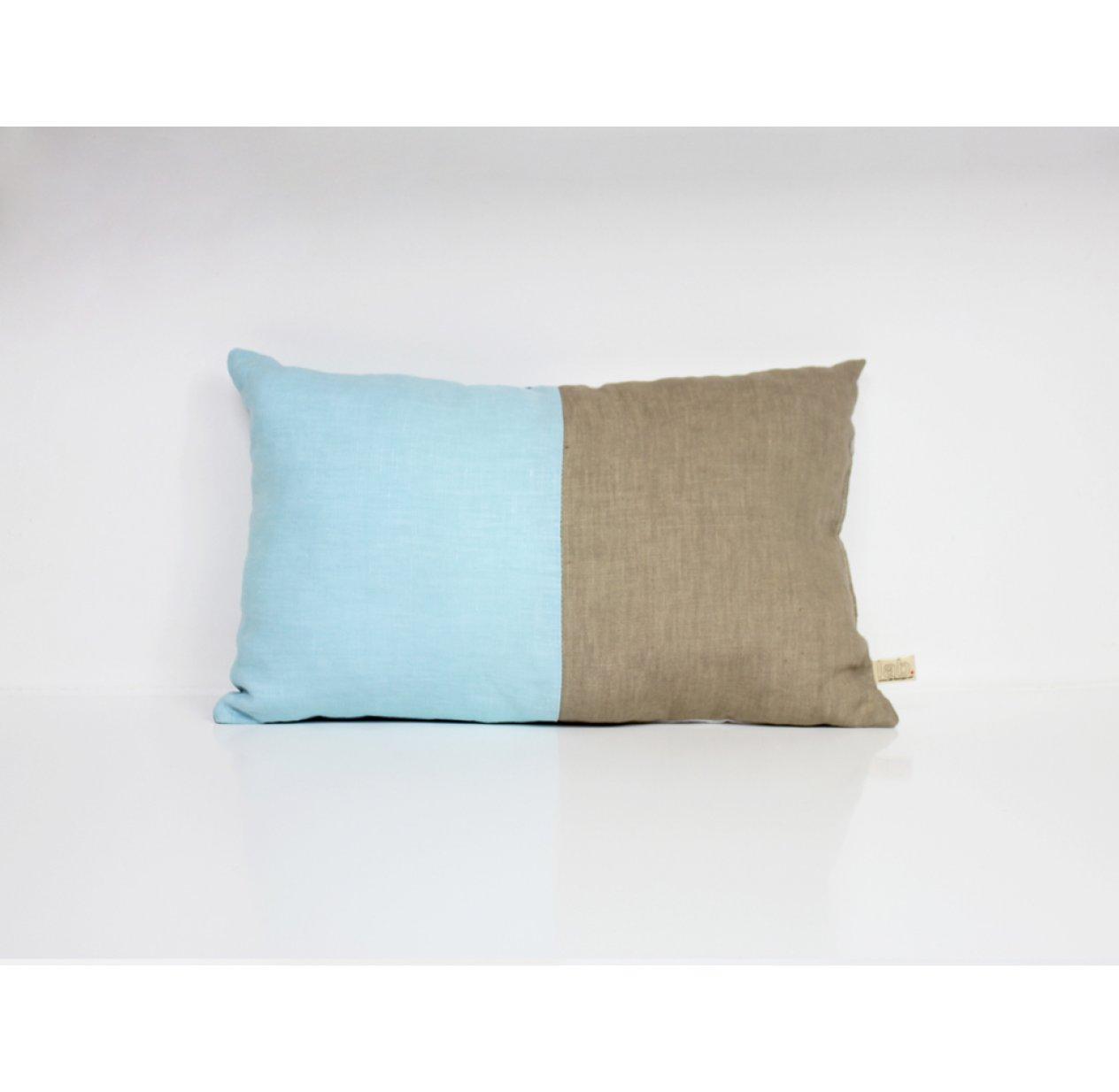 Chambre Bleu Ciel Et Lin coussin en lin 25 x 40 cm - bleu