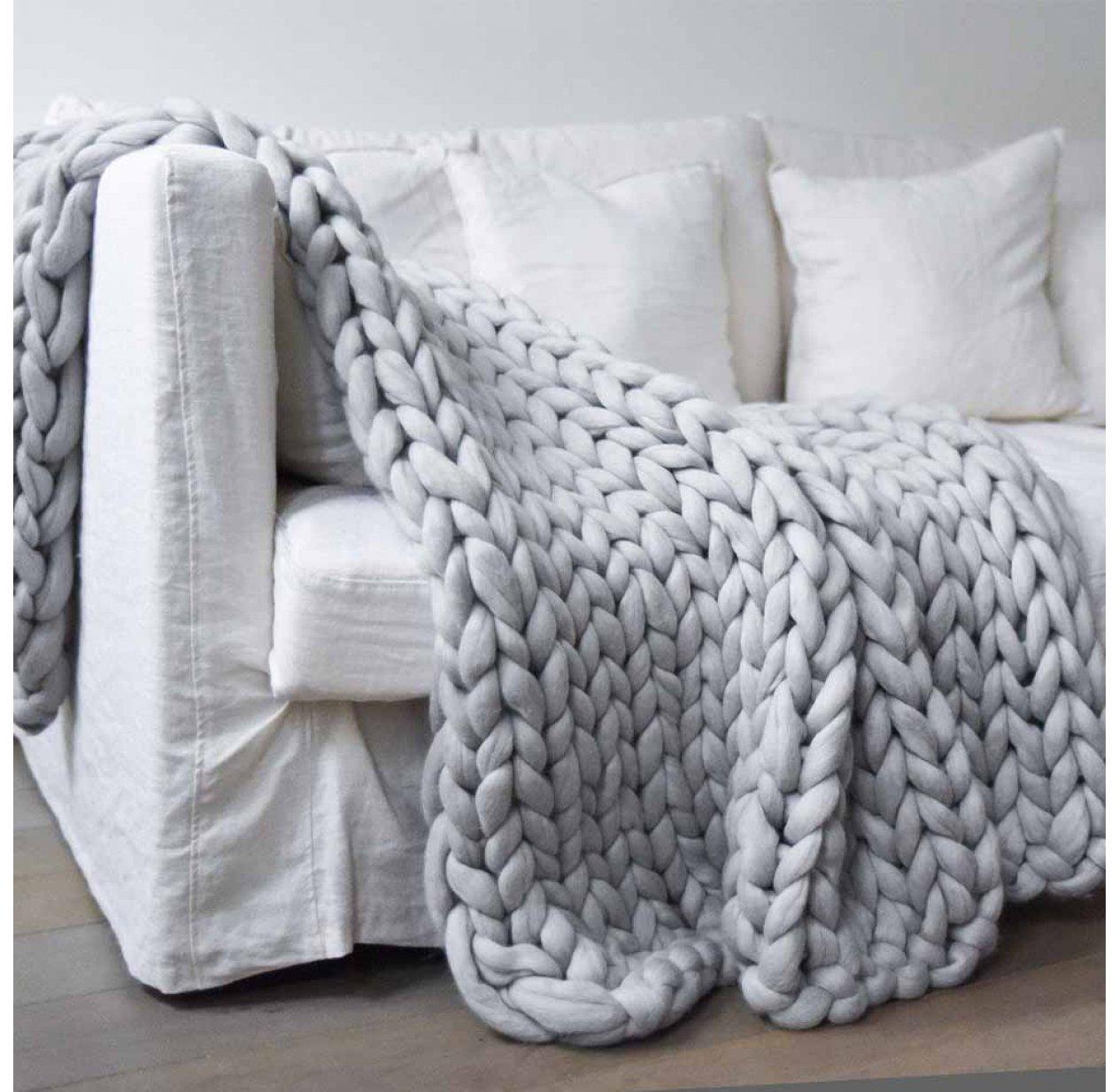 couverture grosse maille - gris clair un long dimanche pour chambre