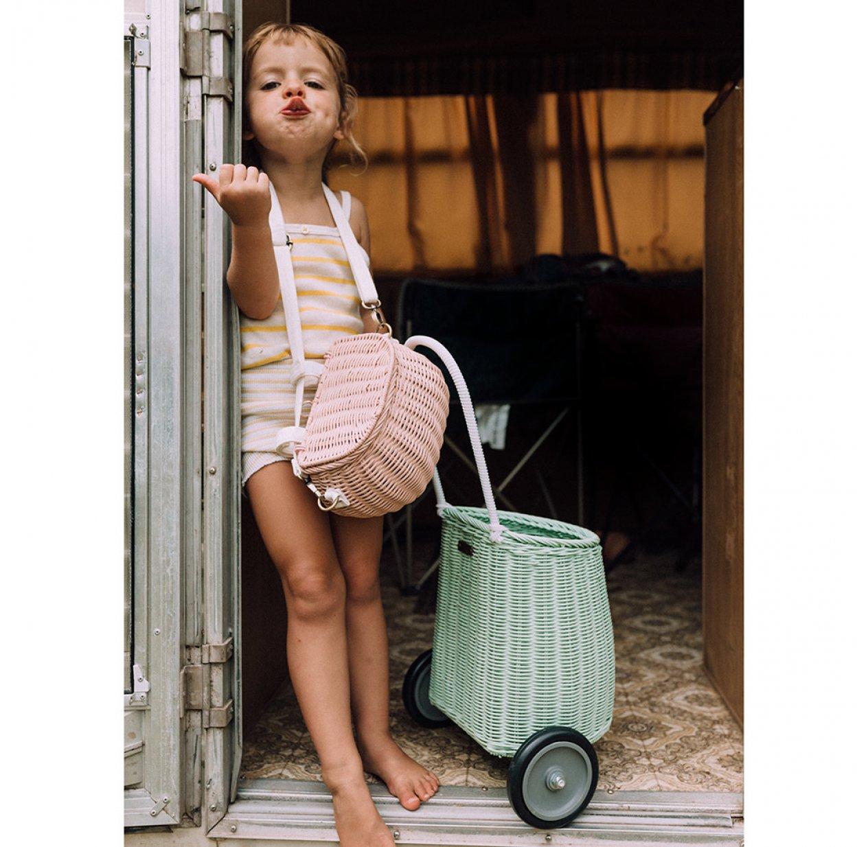 Petit Sac /à Dos en Osier Sac /à bandouli/ère pour Enfants rotin Naturel Style campagnard v/élo Panier LEISURE TIME Enfants v/élo Panier