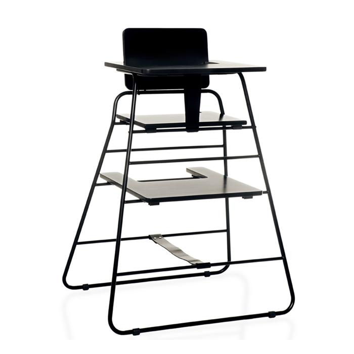 chaise haute towerchair noir cuir noir budtzbendix pour chambre enfant les enfants du design. Black Bedroom Furniture Sets. Home Design Ideas