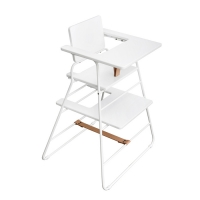 Chaise haute TOWERchair - Blanc/Cuir naturel