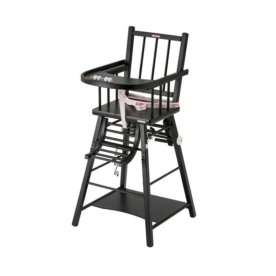 chaise haute transformable marcel laqu noir combelle pour chambre enfant les enfants du design. Black Bedroom Furniture Sets. Home Design Ideas