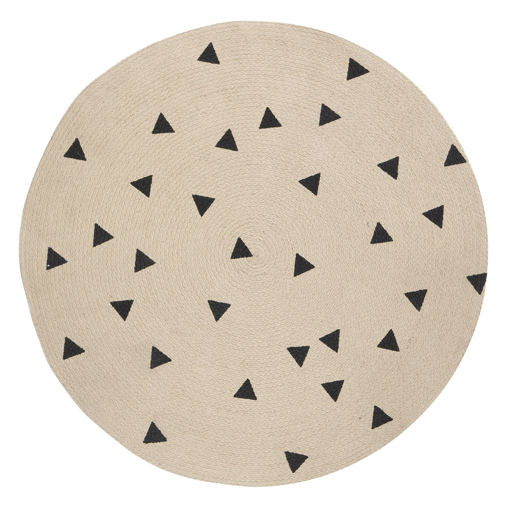 tapis rond triangles noir ferm living pour chambre enfant les enfants du design. Black Bedroom Furniture Sets. Home Design Ideas