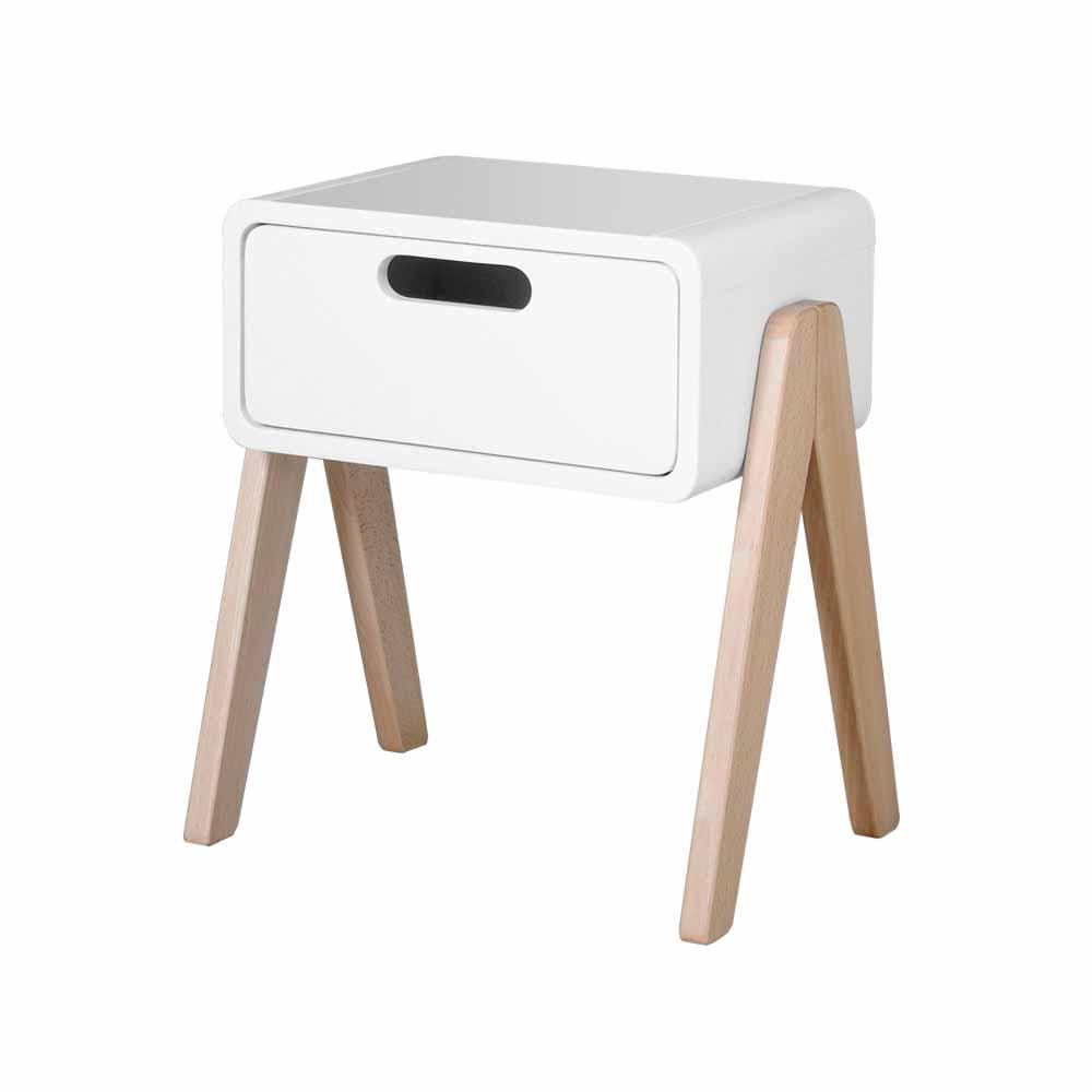 chevet petit robot pieds naturels blanc laurette pour chambre enfant les enfants du design. Black Bedroom Furniture Sets. Home Design Ideas