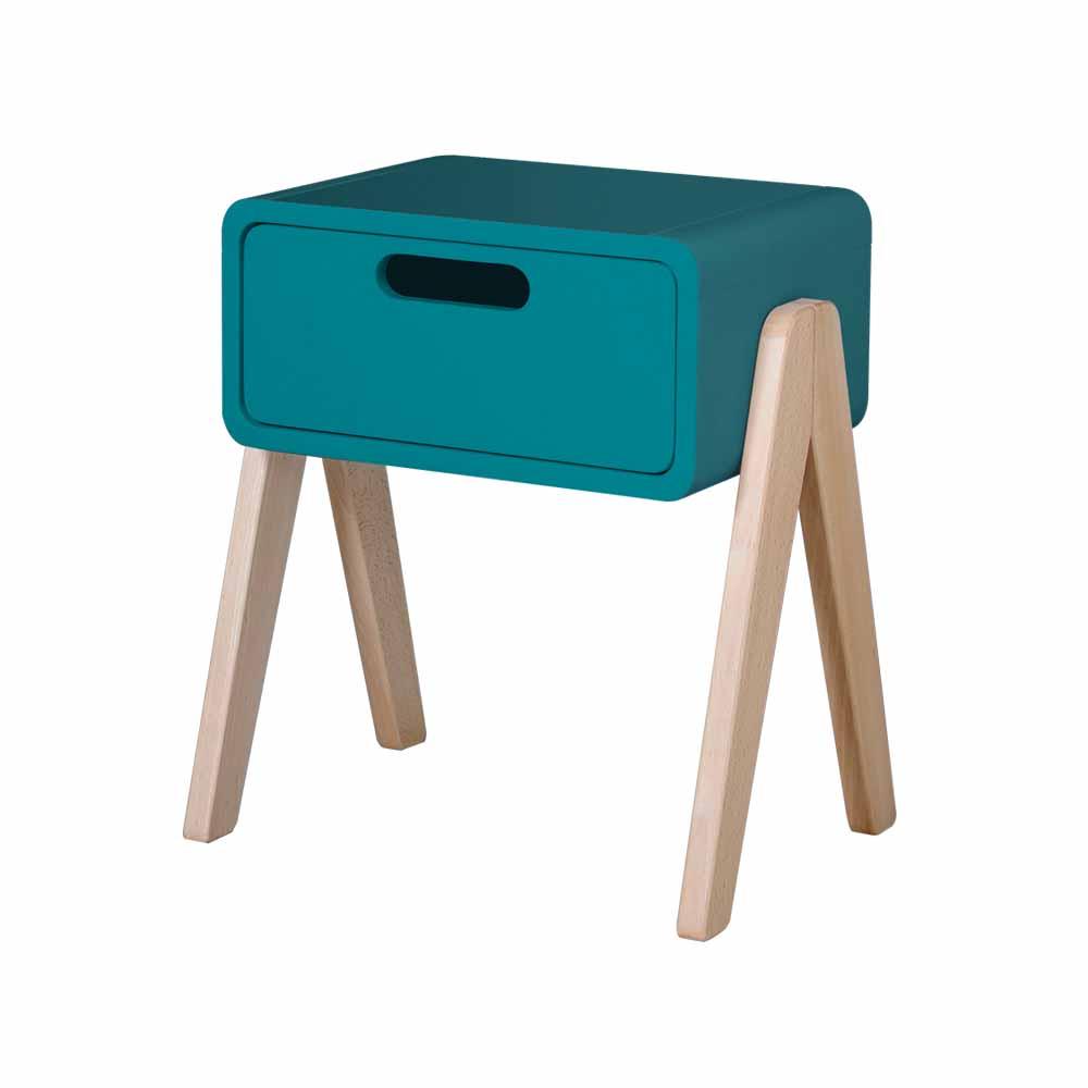 chevet petit robot pieds naturels bleu canard laurette. Black Bedroom Furniture Sets. Home Design Ideas