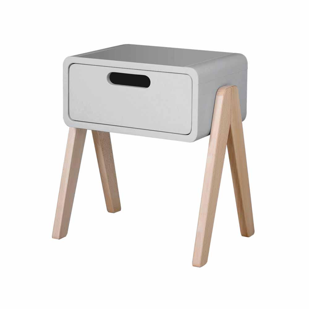 chevet petit robot pieds naturels gris clair laurette pour chambre enfant les enfants du design. Black Bedroom Furniture Sets. Home Design Ideas