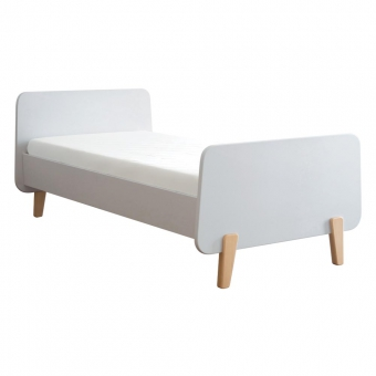 lit mm pieds bois naturel 90x190cm blanc laurette pour chambre enfant les enfants du design. Black Bedroom Furniture Sets. Home Design Ideas