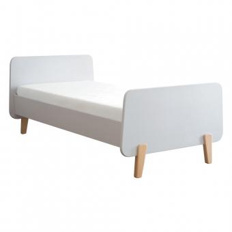 lit mm pieds bois naturel 90x190cm blanc laurette pour. Black Bedroom Furniture Sets. Home Design Ideas