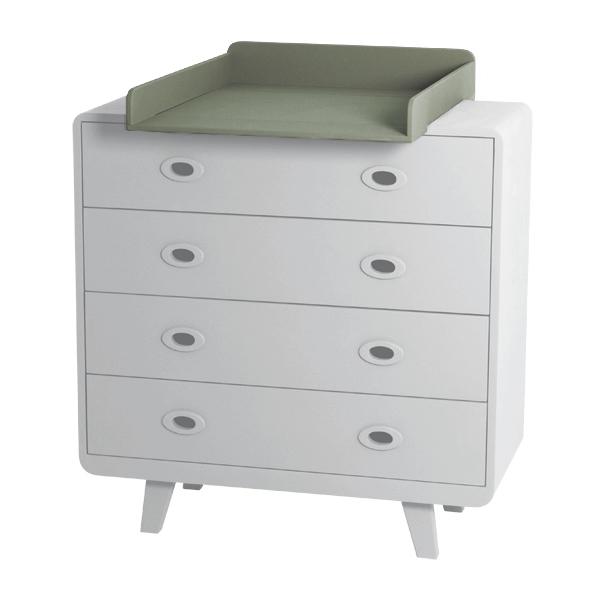 Plan langer pour commode toi moi vert de gris laurette - Commode pour bebe meuble a langer ...