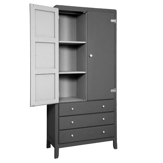 armoire 3 temps gris souris laurette pour chambre enfant les enfants du design. Black Bedroom Furniture Sets. Home Design Ideas