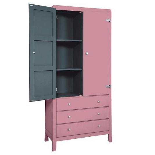 armoire 3 temps vieux rose laurette pour chambre enfant les enfants du design. Black Bedroom Furniture Sets. Home Design Ideas