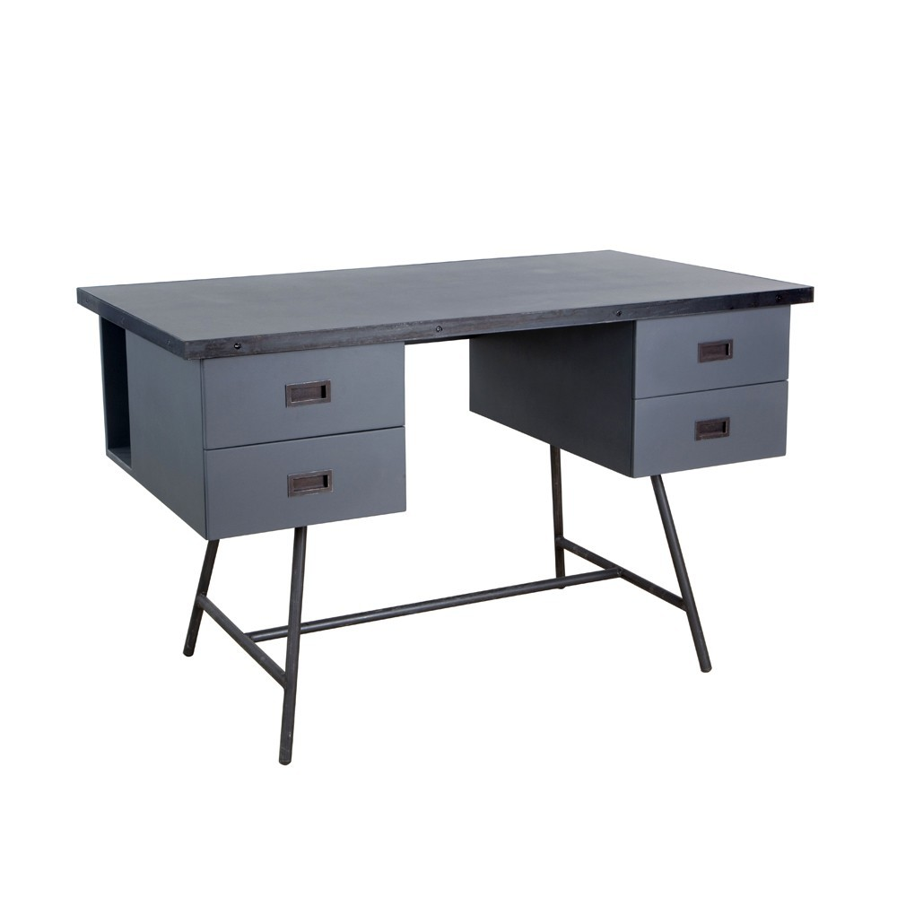 bureau l50 gris souris laurette pour chambre enfant les. Black Bedroom Furniture Sets. Home Design Ideas