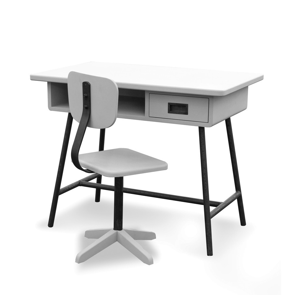 bureau la classe et chaise d 39 atelier gris clair laurette pour chambre enfant les enfants du design. Black Bedroom Furniture Sets. Home Design Ideas