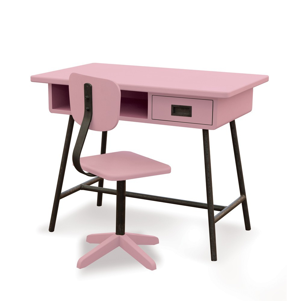 bureau la classe et chaise d 39 atelier vieux rose laurette pour chambre enfant les enfants du design. Black Bedroom Furniture Sets. Home Design Ideas
