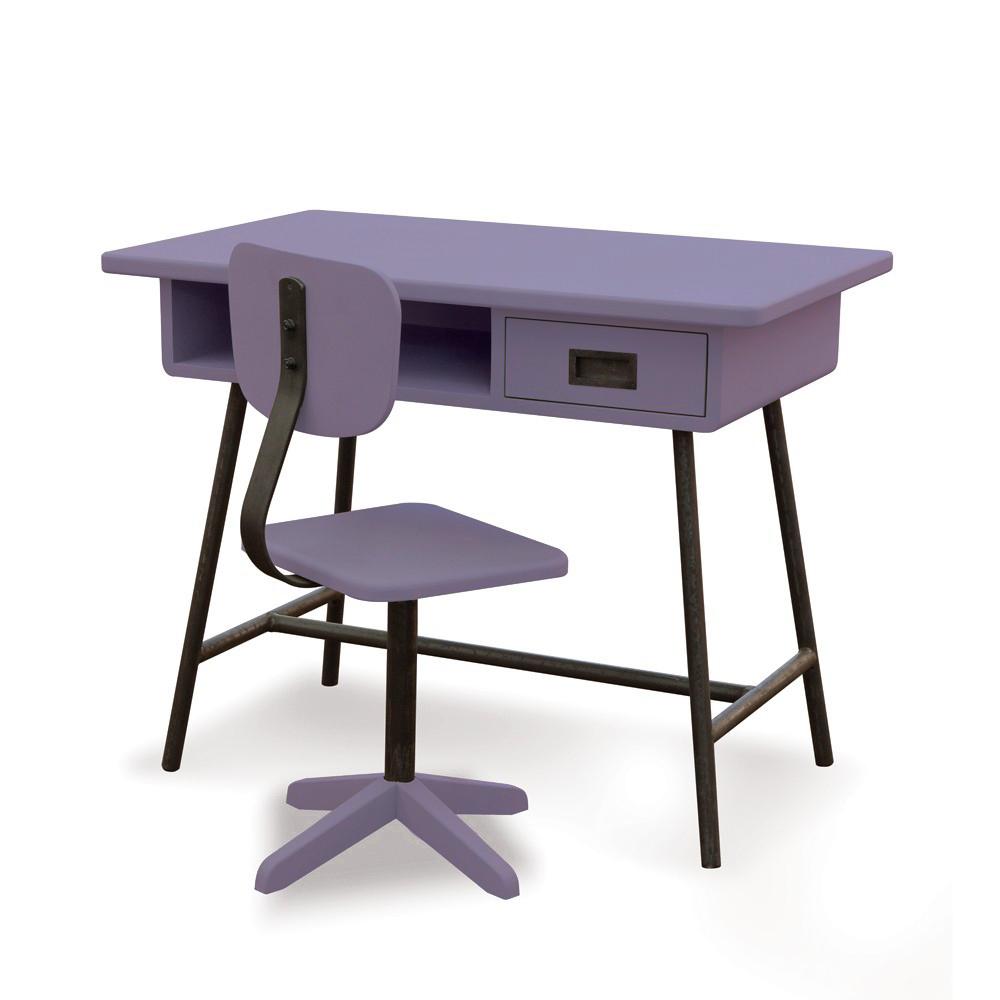 Bureau la classe et chaise d 39 atelier violet laurette pour - Bureau et chaise enfant ...