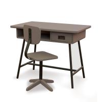 Bureau la Classe et chaise d'atelier Taupe