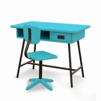Bureau la Classe et chaise d'atelier Turquoise