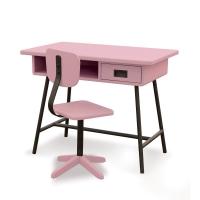 Bureau la Classe et chaise d'atelier - Vieux rose
