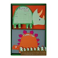 8 invitations Dinosaure