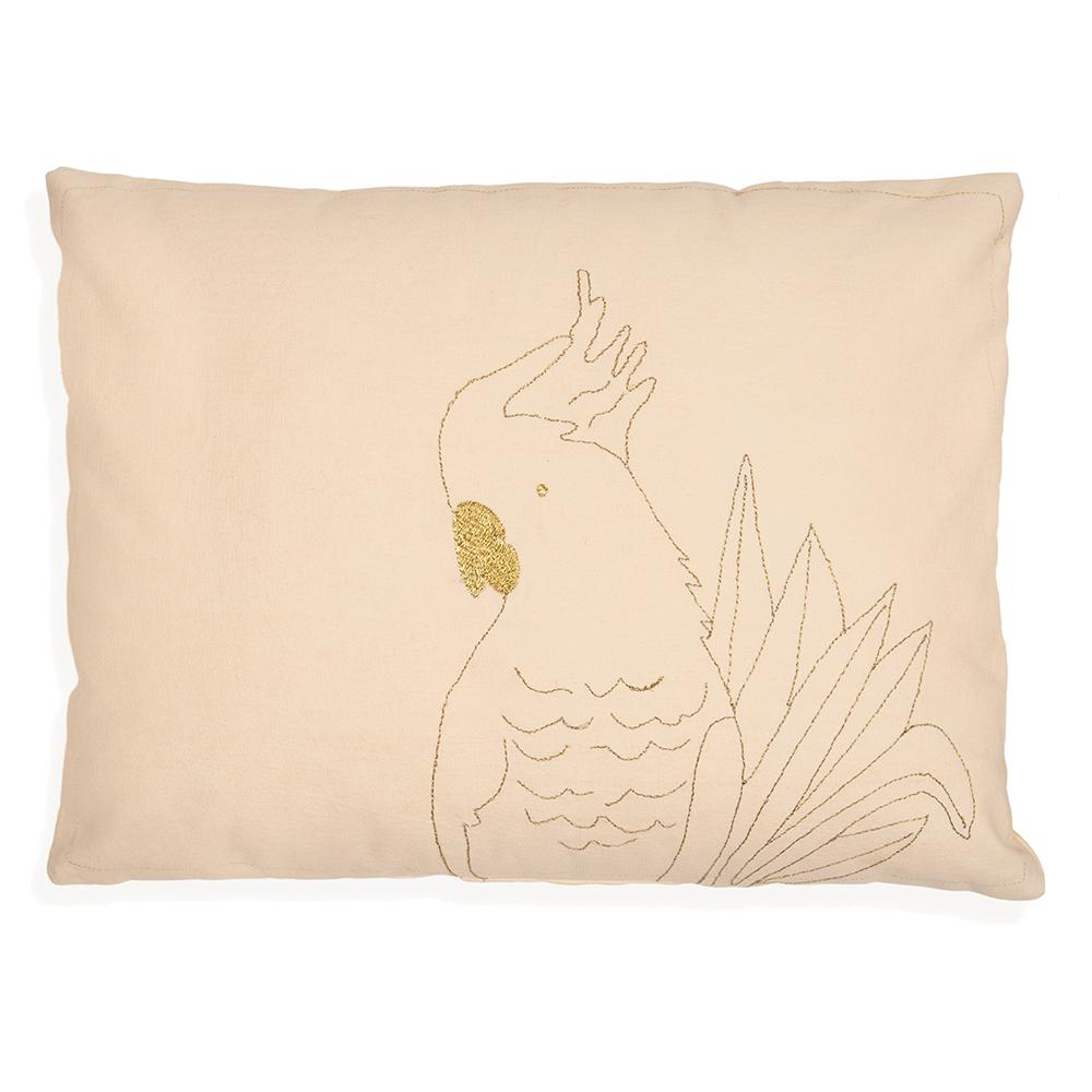 coussin brod perroquet dor mimilou pour chambre enfant. Black Bedroom Furniture Sets. Home Design Ideas
