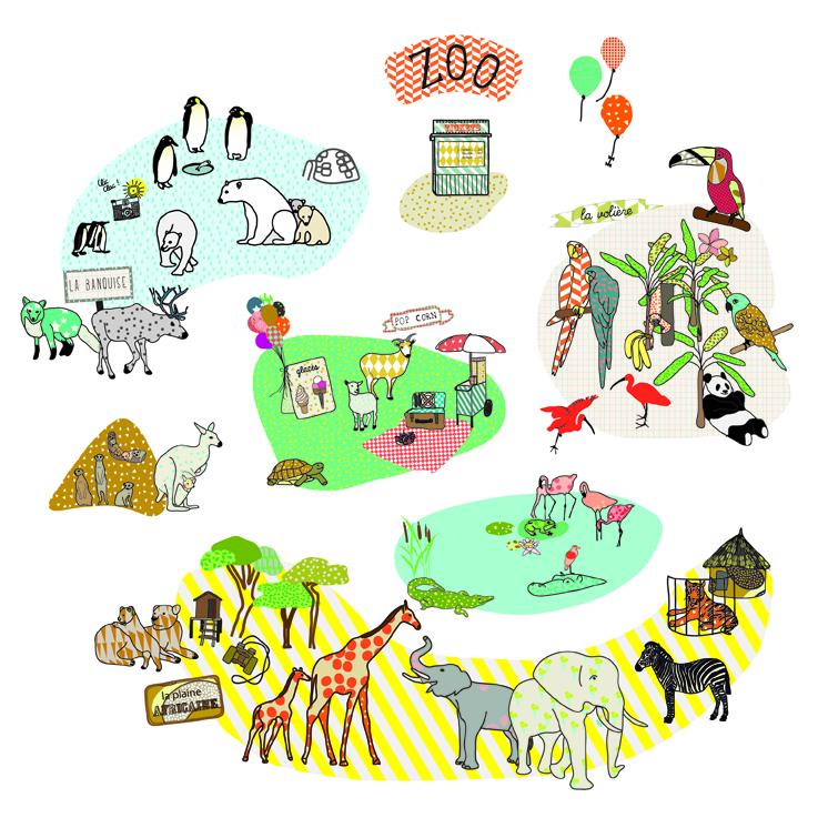 Sticker zoo mimilou pour chambre enfant les enfants du design - Les enfants du design ...