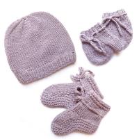 Kit de naissance tricoté - Mauve