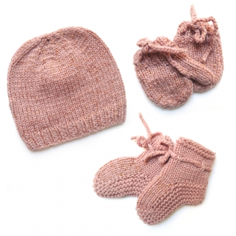 Kit de naissance tricoté irisé - Rose poudré