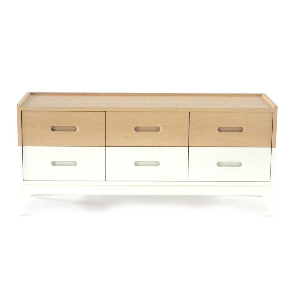 commode 6 tiroirs horizon blanc nobodinoz pour chambre. Black Bedroom Furniture Sets. Home Design Ideas
