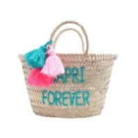 Panier à pompons brodé Capri Forever - Turquoise