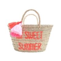 Panier à pompons brodé My Sweet Summer - Orange