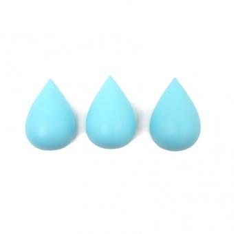 Set de 3 patères Gouttes - Bleu aqua