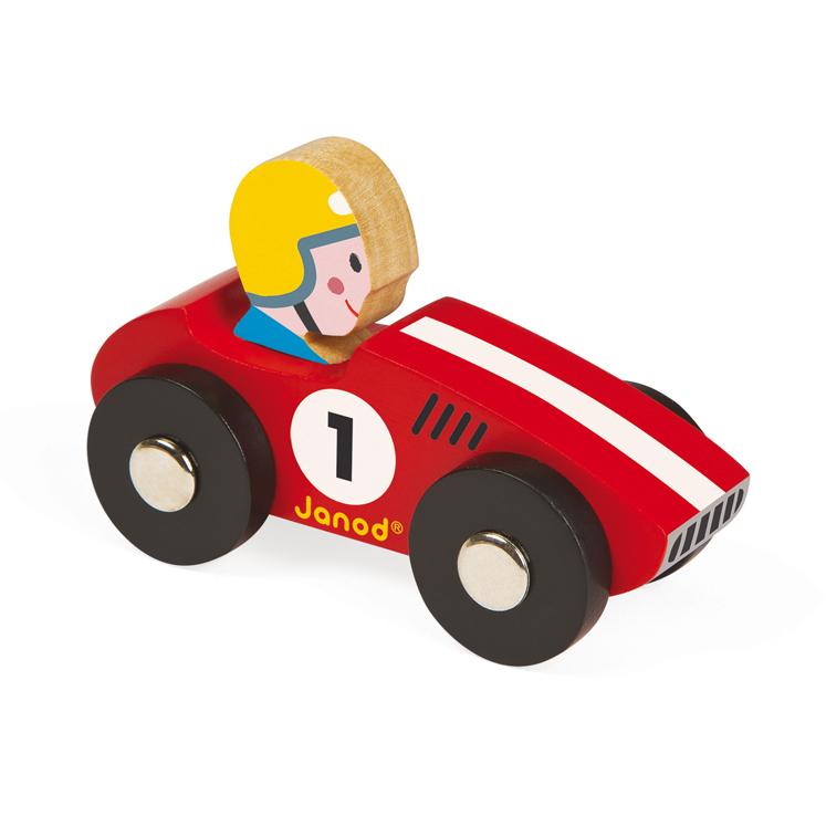 voiture en bois racer rouge janod pour chambre enfant les enfants du design. Black Bedroom Furniture Sets. Home Design Ideas