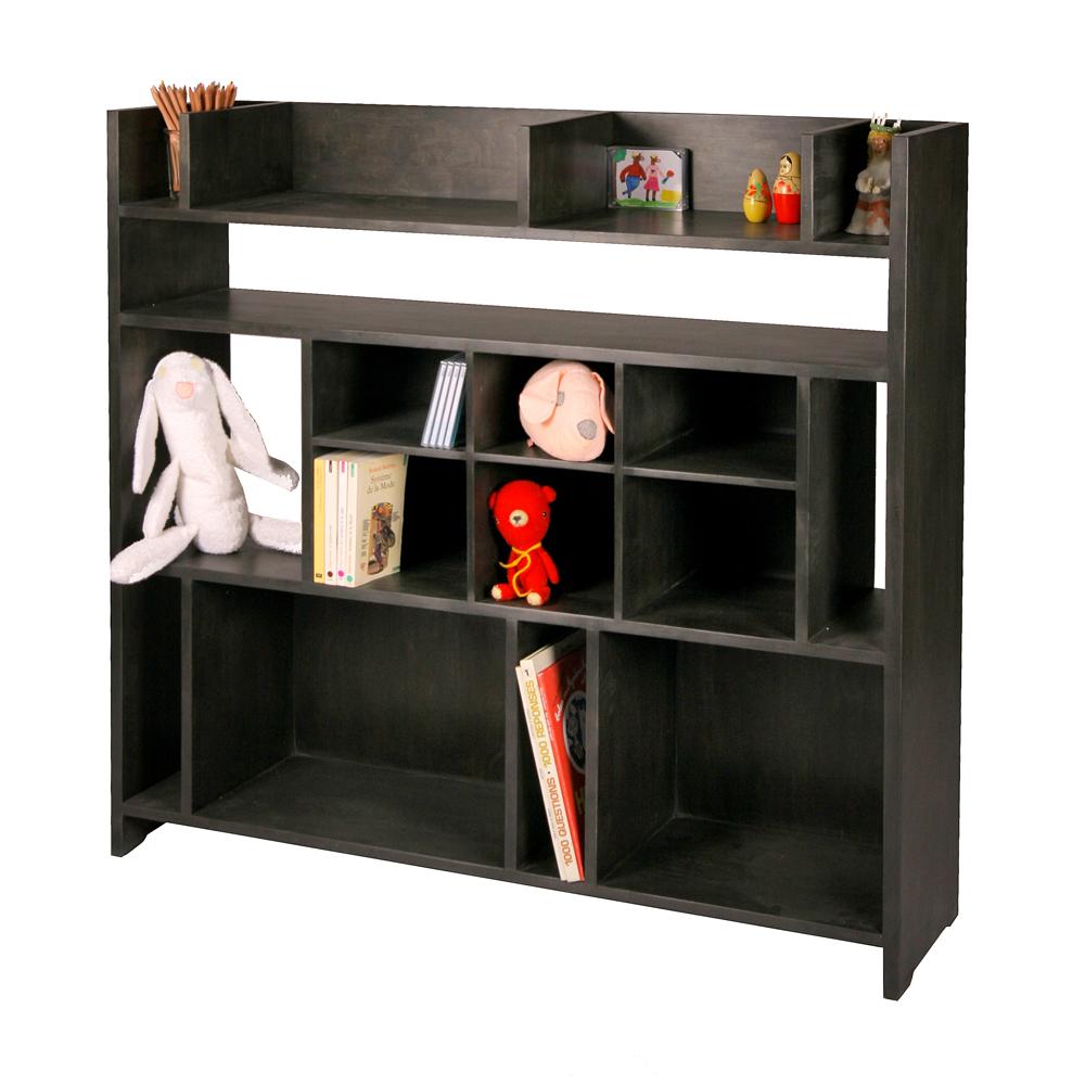 grande tag re biblioth que secret bouleau teint noir. Black Bedroom Furniture Sets. Home Design Ideas