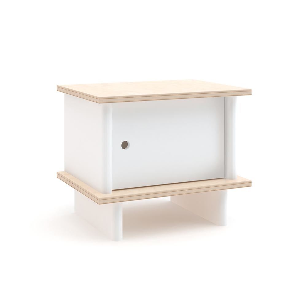 Table de chevet ml blanc bouleau oeuf nyc pour chambre for Table chevet enfant