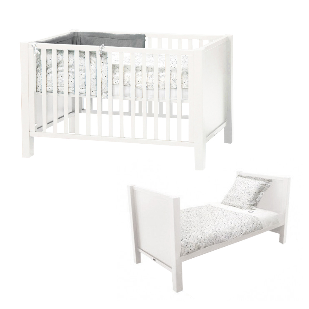 lit b b volutif joy 70 x 140 blanc quax pour chambre enfant les enfants du design. Black Bedroom Furniture Sets. Home Design Ideas
