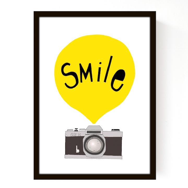 Affiche Smile Jaune Seventy Tree Pour Chambre Enfant Les