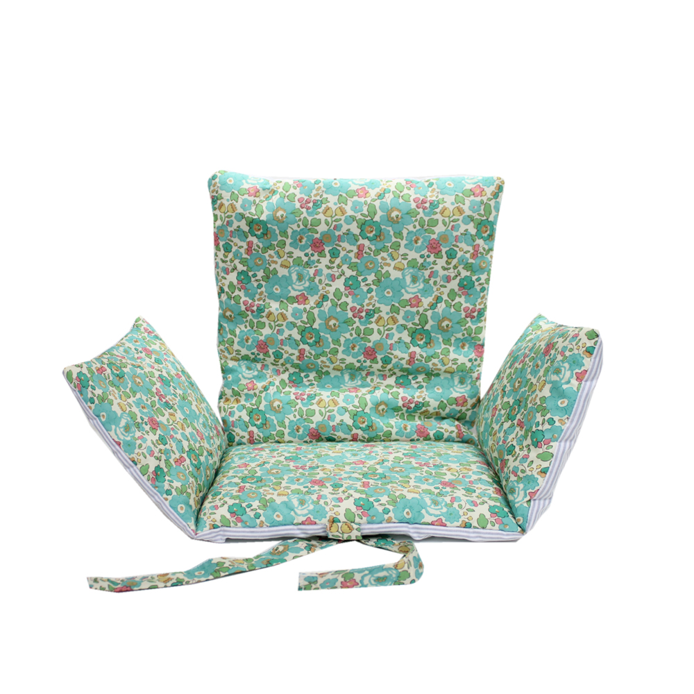 Coussin d 39 assise b b liberty betsy vert lab pour chambre enfant les enfants du design - Coussin pour chaise bebe ...
