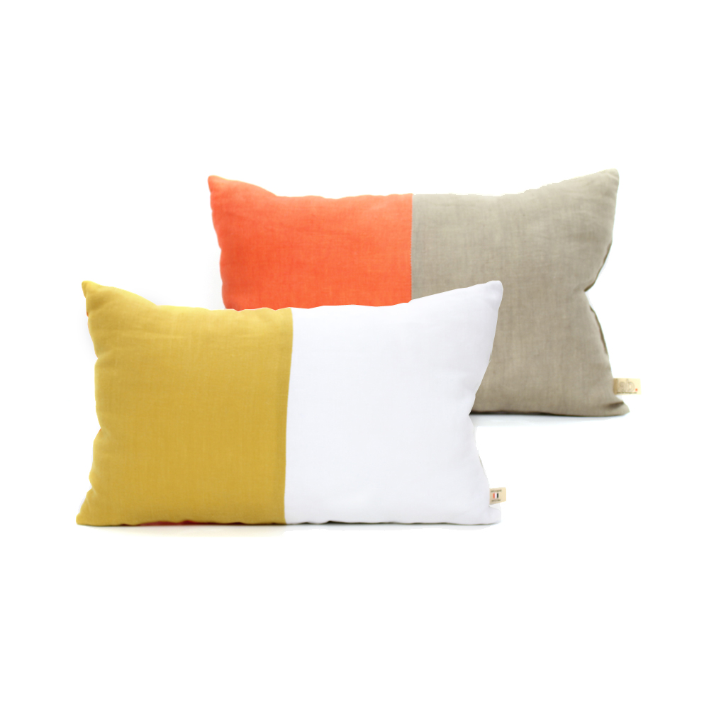 coussin en lin 25 x 40 cm orange jaune lab pour chambre enfant les enfants du design. Black Bedroom Furniture Sets. Home Design Ideas