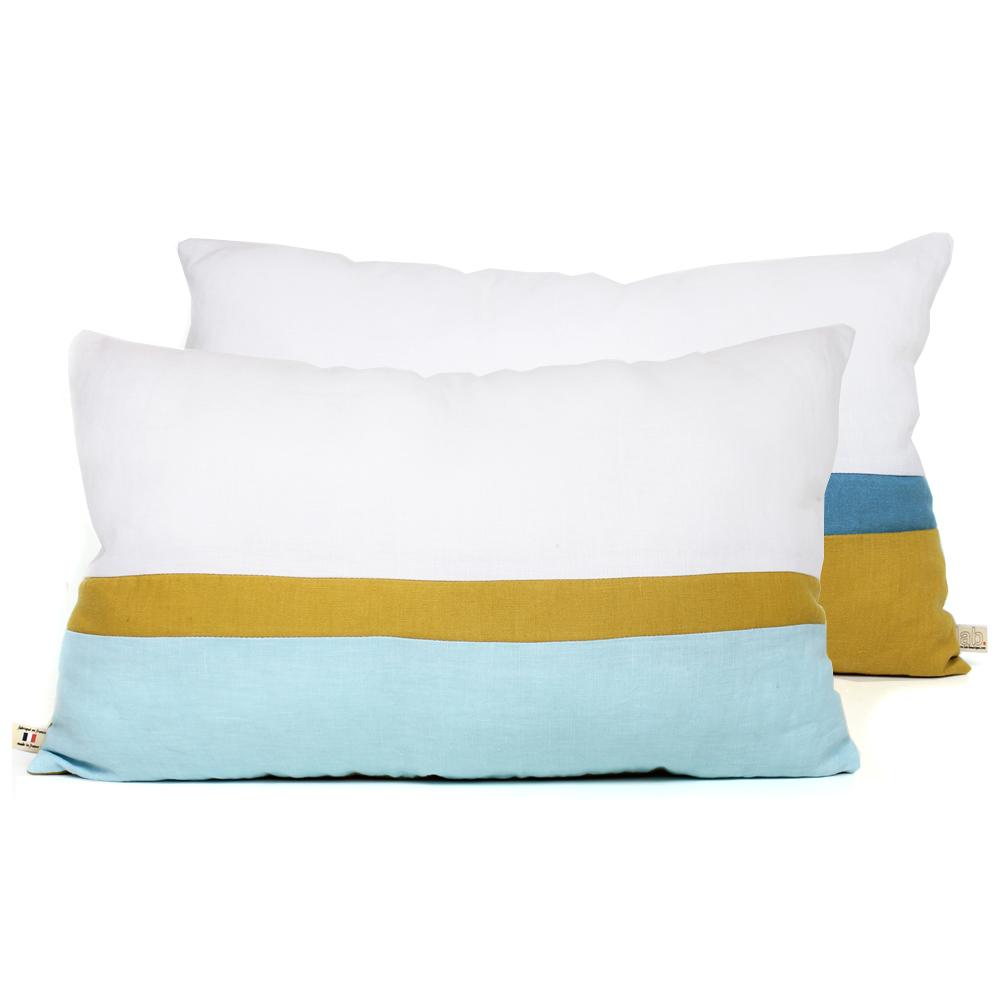 Coussin en lin 30 x 50 cm bleu jaune lab pour chambre enfant les enfants du design - Coussin jaune et bleu ...