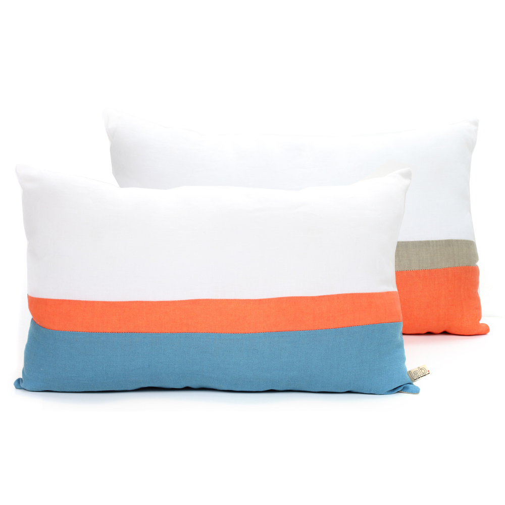 coussin en lin 30 x 50 cm bleu orange lab pour chambre enfant les enfants du design. Black Bedroom Furniture Sets. Home Design Ideas