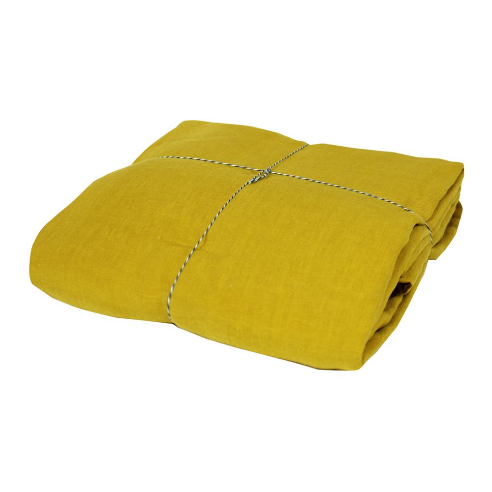 housse de couette lin 140 x 200 moutarde lab pour. Black Bedroom Furniture Sets. Home Design Ideas