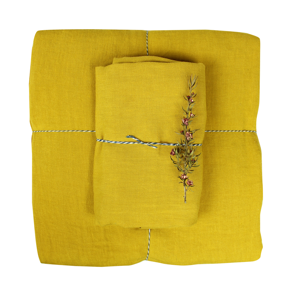 housse de couette lin 100 x 140 moutarde lab pour. Black Bedroom Furniture Sets. Home Design Ideas