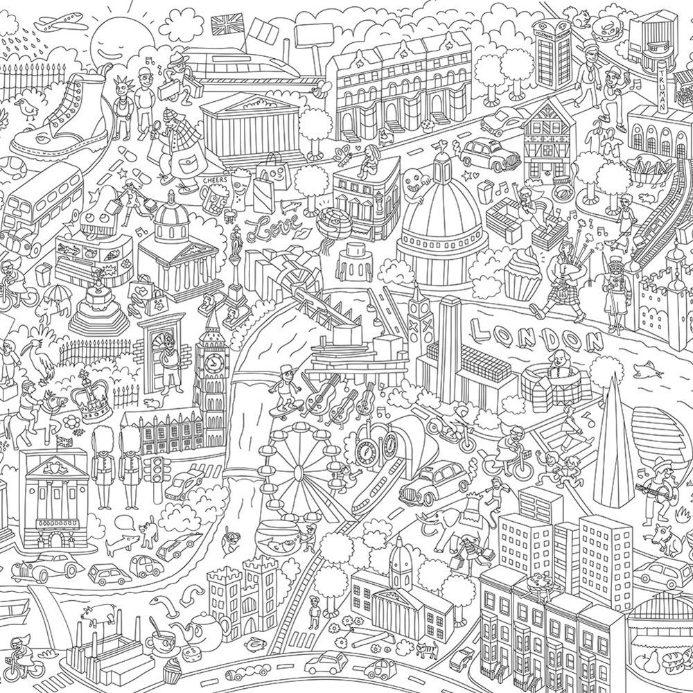 London Poster  colorier OMY Design and Play pour chambre enfant Les Enfants du Design