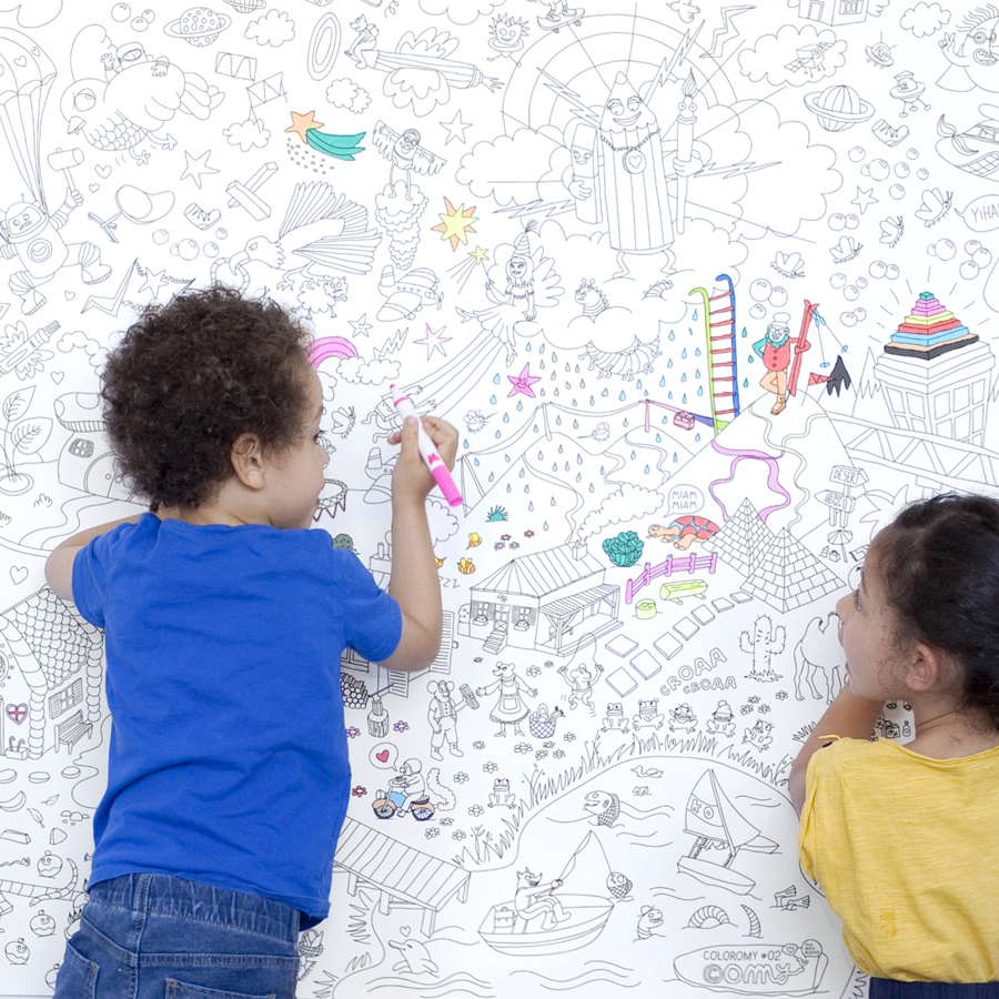 Fantastic fresque colorier omy design and play pour for Les enfants design