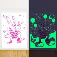 Affiche phosphorescente Bunny - Lapin Fuchsia