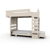Lit superposé F+ A Bed et son matelas - Cérusé Blanc