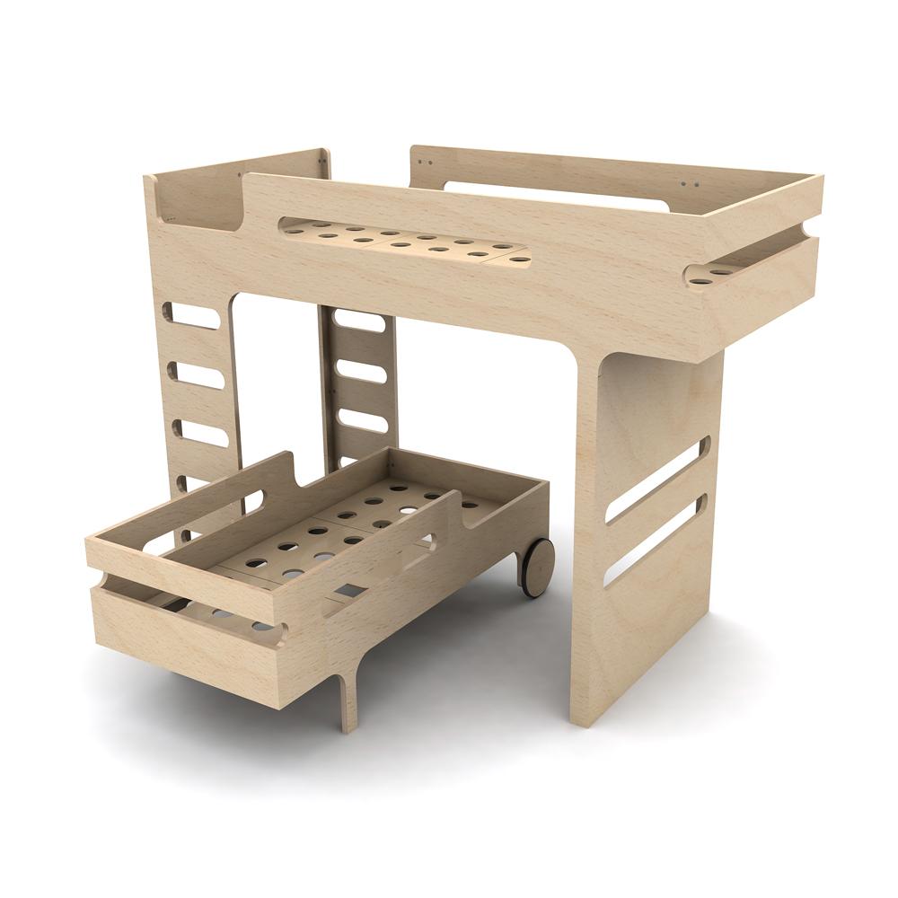 Lit superposé F  R Bed - Naturel Rafa Kids pour chambre enfant ... - Petit Lit Superposé