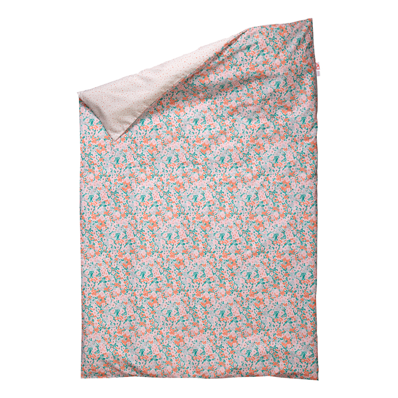 Housse de couette little flower 100 x 140 cm corail for Bibelot design rouge